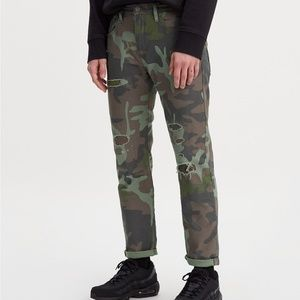 levis premium hi-ball Camo Jeans distressed style